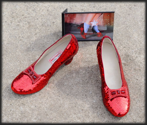Judy Garland as Dorothy wore a similar pair of ruby slippers
