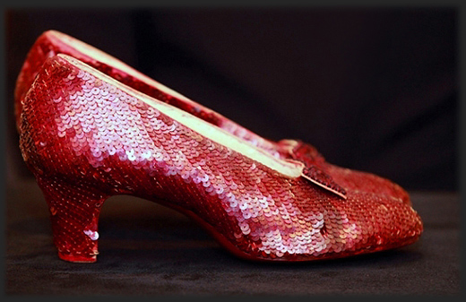 Judy Garland's ruby slippers containing red metallic sequins