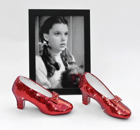 Judy Garland's size 5B replica ruby slippers