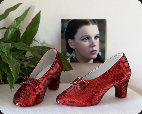 Hand-sewn ruby slippers crafted by JudyGarlandsRubySlippers.com