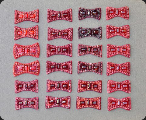 Hand-sewn bows made for Judy Garland's ruby slippers